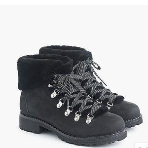 J. Crew Nordic leather faux fur lace up boots